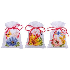 Vervaco Kruidenzakje kit Kleurige bloemen set van 3