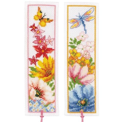 Vervaco Bladwijzer kit Kleurige bloemen set van 2
