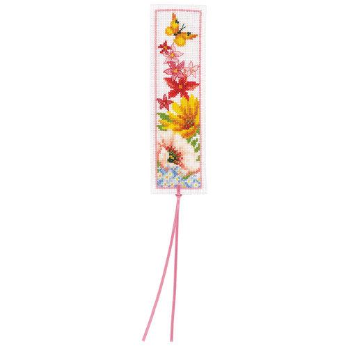 Vervaco Bladwijzer kit Kleurige Bloemen - Set van 2