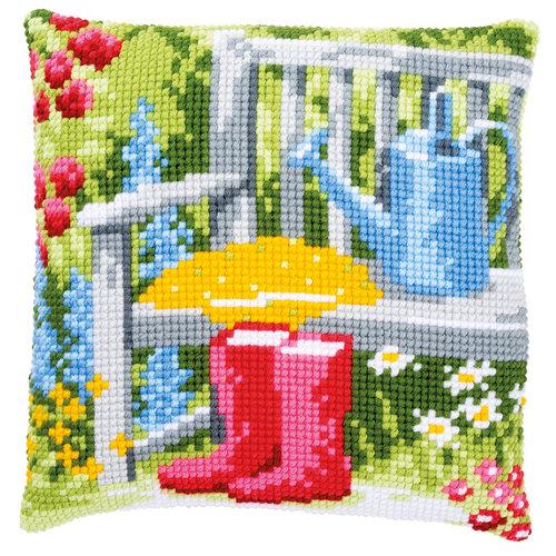 Vervaco Kruissteekkussen kit Mijn tuin