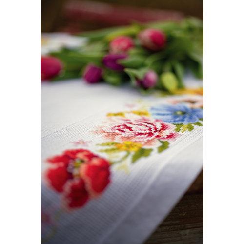 Vervaco Aida tafelkleed kit Kleurige bloemen