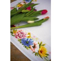 Aida tafelkleed kit Kleurige bloemen