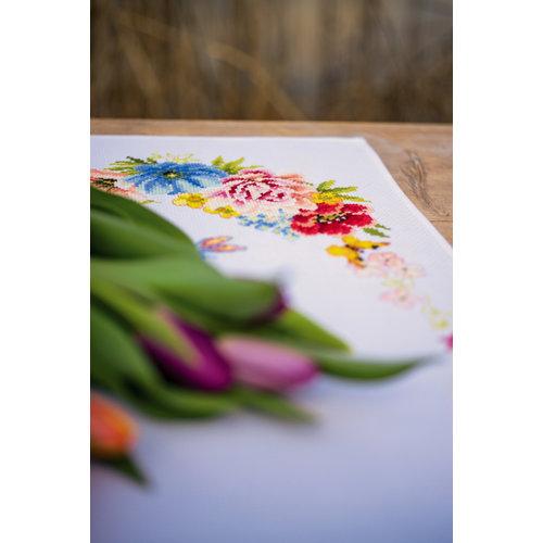 Vervaco Pearlaida loper kit Kleurige bloemen