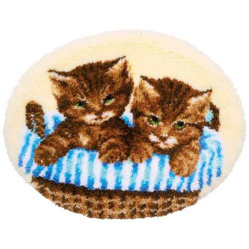 Vervaco Knoopvormtapijt kit Kittens in mand