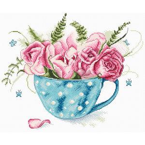 Leti Stitch Borduurpakket A cup of Roses - Leti Stitch