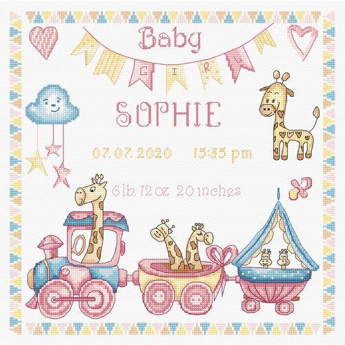Leti Stitch Borduurpakket Baby Girl Record - Leti Stitch
