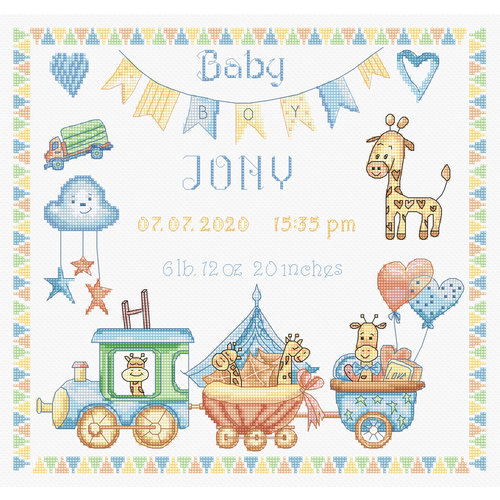 Leti Stitch Borduurpakket Baby Boy Record - Leti Stitch