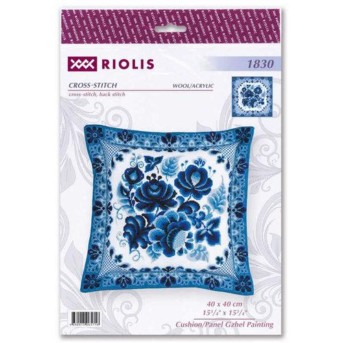 RIOLIS Borduurpakket Cushion/Panel Gzhel Painting - RIOLIS