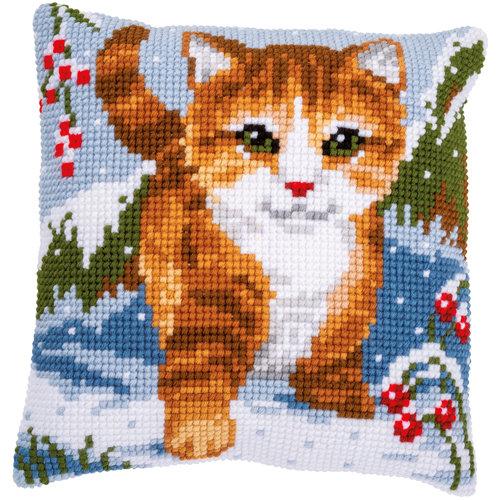 Vervaco Kruissteekkussen kit Kat in de sneeuw