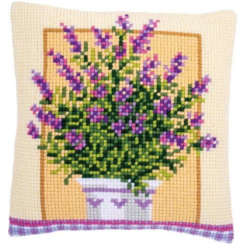 Vervaco Kruissteekkussen kit Lavendelpot