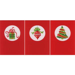 Vervaco Wenskaart kit Kerst set van 3