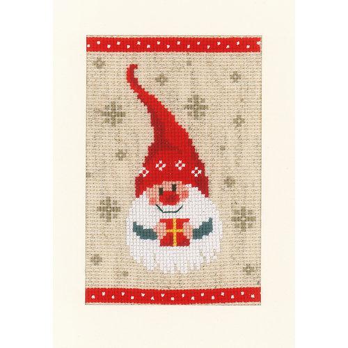 Vervaco Wenskaart kit Kerstkabouters set van 3