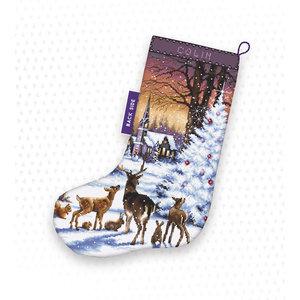 Leti Stitch Borduurpakket Christmas Wood Stocking - Leti Stitch