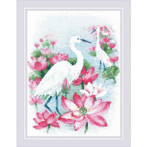 RIOLIS Borduurpakket Lotus Field - Heron - RIOLIS