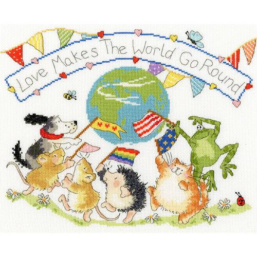 Bothy Threads Cross stitch kit Margaret Sherry - Love Makes The World Go Round - Bothy Threads