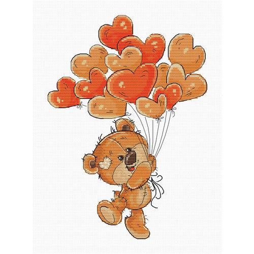 Luca-S Cross stitch kit Teddy Bear Heart Balloons - Luca-S