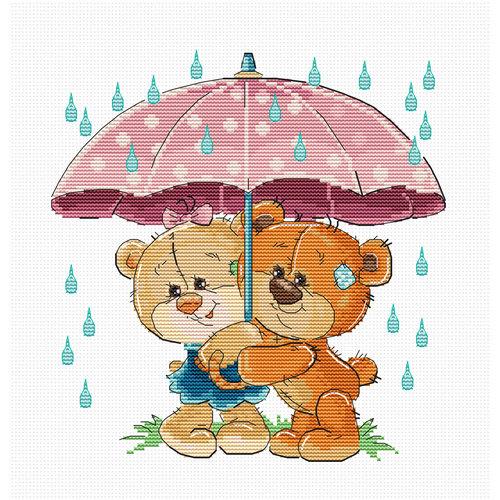 Luca-S Cross stitch kit Teddy Bears Under Umbrella - Luca-S