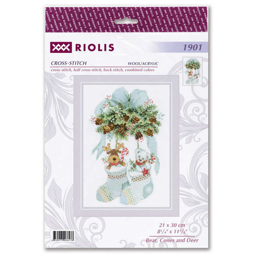 RIOLIS Cross stitch kit Bear, Cones and Deer - RIOLIS