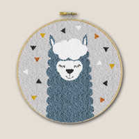 Borduurpakket Punch Needle - Alpaca Blauw