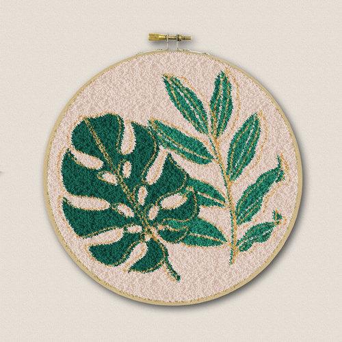 Restyle Borduurpakket Punch Needle - Botanisch (met goud)
