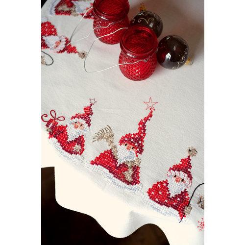 Vervaco Tafelkleed kit Kerstkabouters