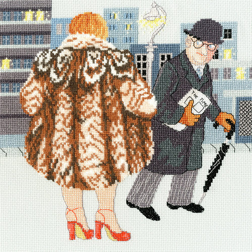 Bothy Threads Borduurpakket Beryl Cook - My Fur Coat - Bothy Threads