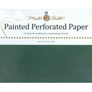 Mill Hill Geperforeerd papier - Holly Green (kerstgroen)