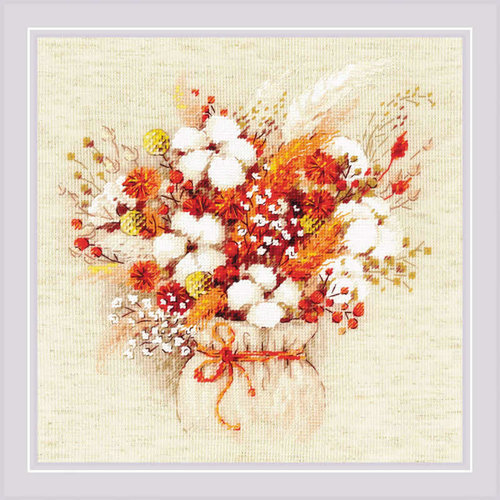 RIOLIS Borduurpakket Bouquet with Lagurus and Cotton - RIOLIS