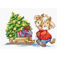 Borduurpakket Calf with Christmas Tree - Luca-S