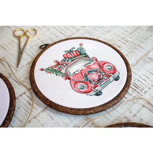 Leti Stitch Cross stitch kit Christmas Retro Cars / Kit of 5 - Leti Stitch