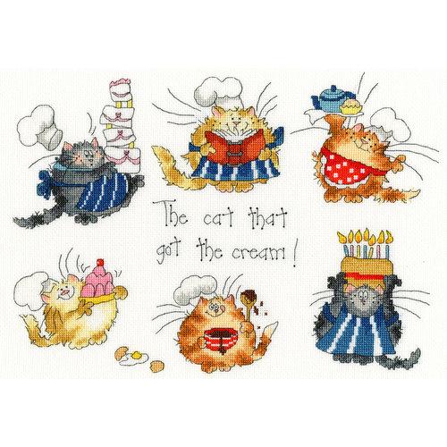 Bothy Threads Borduurpakket Margaret Sherry - The Cat that got the Cream - Bothy Threads