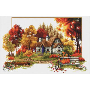 Needleart World Voorbedrukt borduurpakket Autumn Cottage - Needleart World