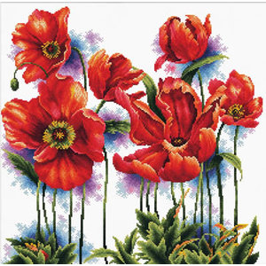 Needleart World Voorbedrukt borduurpakket Lovely Poppies - Needleart World