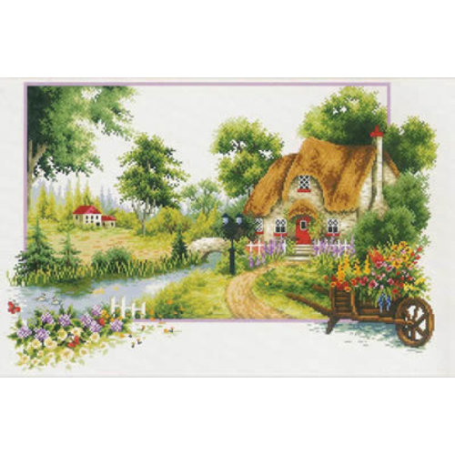 Needleart World Voorbedrukt borduurpakket Summer Cottage - Needleart World