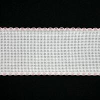 Aidaband 5 cm - wit/roze