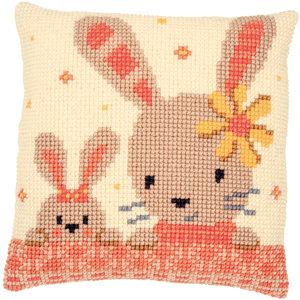 Vervaco Kruissteekkussen kit Lieve konijntjes