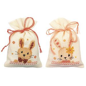 Vervaco Kruidenzakje kit Lieve konijntjes set van 2