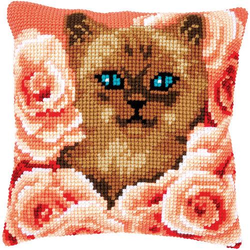 Vervaco Kruissteekkussen kit Kitten tussen rozen