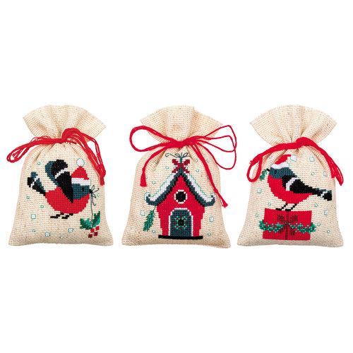 Vervaco Kruidenzakje kit Kerstvogeltje en huisje set van 3