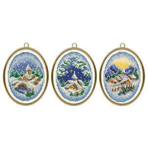 Vervaco Miniatuur kit Winterdorpjes set van 3