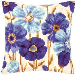 Vervaco Kruissteekkussen kit Blauwe anemonen