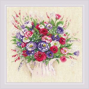 RIOLIS Borduurpakket Bouquet with Eustoma and Gypsophila - RIOLIS