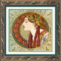 Borduurpakket Laurel after A. Mucha's Artwork - RIOLIS