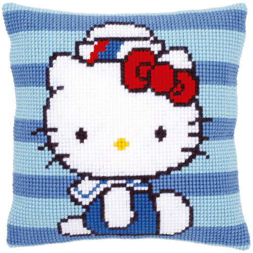 Vervaco Kruissteekkussen kit Hello Kitty in marine I