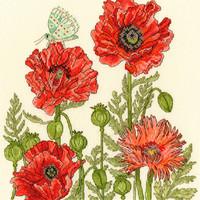Borduurpakket Fay Miladowska - Poppy Garden -Bothy Threads