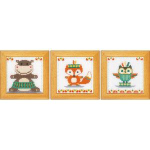 Vervaco Miniatuur kit Leuke diertjes set van 3