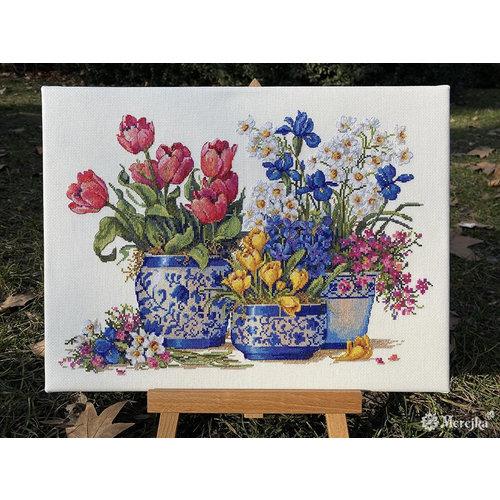 Merejka Borduurpakket Spring Garden in Blue - Merejka