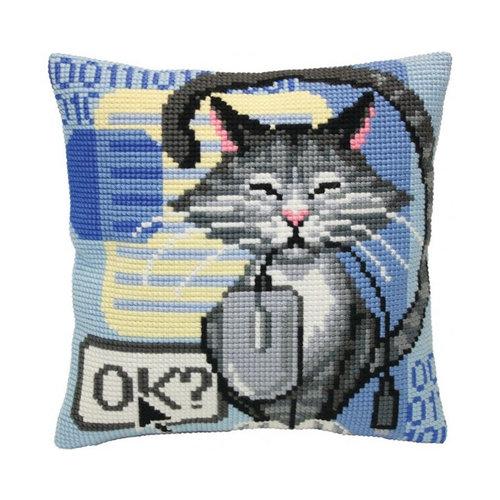 Collection d'Art Kussen borduurpakket Cat and Mouse - Collection d'Art