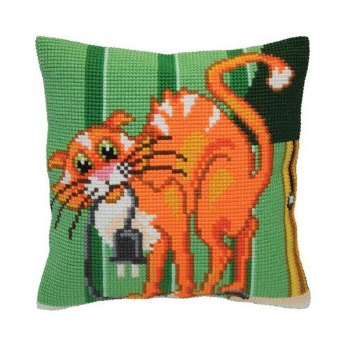 Collection d'Art Kussen borduurpakket Cat Jokes - Collection d'Art