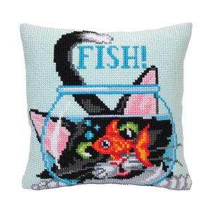 Collection d'Art Kussen borduurpakket Catch a Fish - Collection d'Art